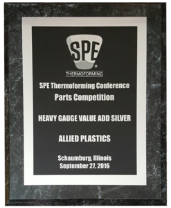 Allied Plastics won Silver in the Thermoforming Heavy Gauge, Value Add Thermoforming Awards 2016 category from Society of Plastics Engineers