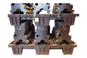 Engine Blocks on Vacuum Form Pallets