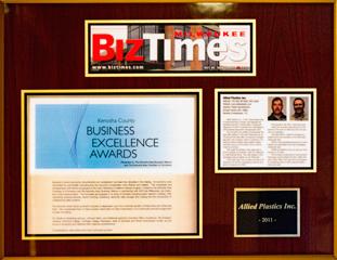 Allied Plastics Custom Thermoforming wins Biz Times Magazine 2011 Award
