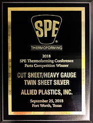 2018 SPE Thermoforming Parts Silver Award