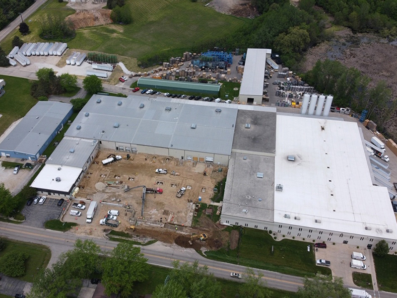 Arial photo of the construction process for the recent Allied Plastics expansion