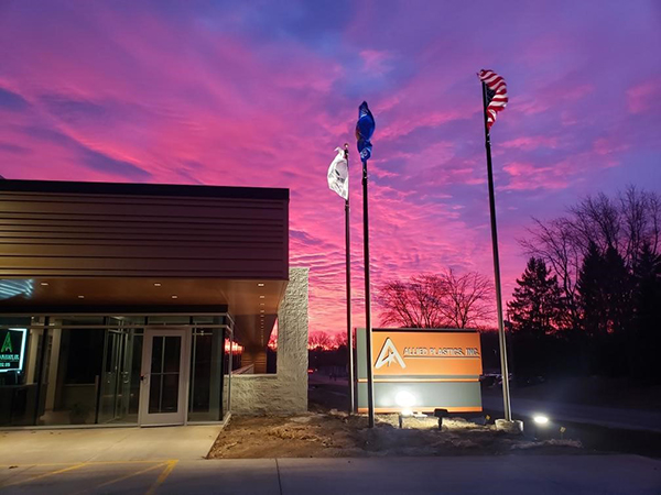 Sunrise over the new the facility entrance door